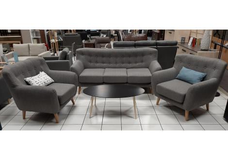 Salon 3 pièces: 1 canapé 3 places + 2 fauteuils 1 place CHESTER tissu gris