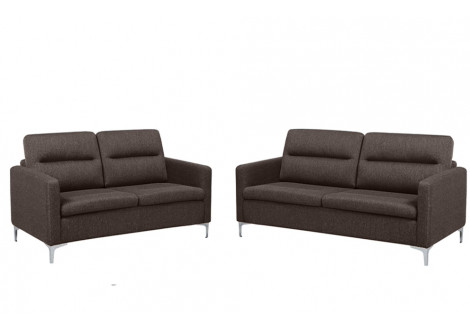 Salon 2 pièces CLARK  MARRON: 1 canapé 3 places + 1 canapé 2 places