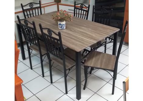 Ensemble 1 table+6 chaises CLASSICO noir/chêne sonoma