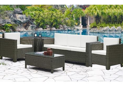 Salon 4 pièces CONVIVIO tissu gris clair : 1 canapé 3 places + 2 fauteuils + 1 table basse