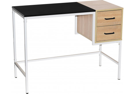 Bureau STAND 2 tiroirs chêne, noir et blanc