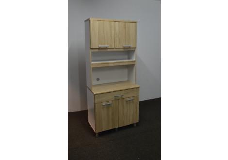 Buffet haut 4 portes/1 tiroir FLIP chêne clair/blanc