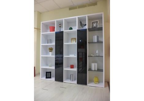 Bibliothèque REVERSO Laquée blanc portes noires