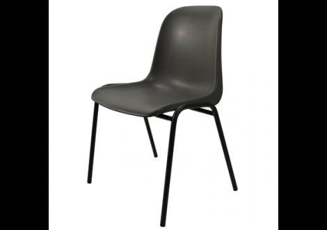 Chaise ELENA plastique noir/piètement noir