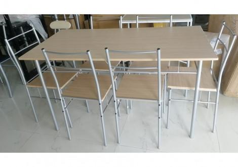 Ensemble Table et 6 chaises LIVOURNE plateau chêne grisé / pieds blanc