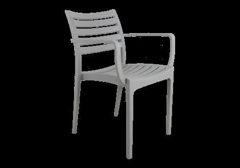 Chaise ERIC avec accoudoirs gris clair