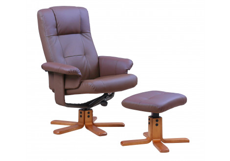 Fauteuil relax+repose-pieds NEW YORK marron clair
