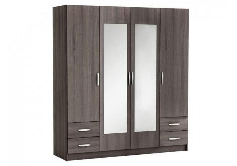 Armoire 4 portes+2 miroirs+4 tiroirs POP chêne vulcano