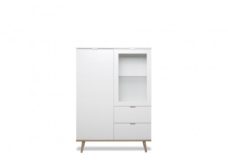 Buffet 1 porte + 1 porte vitrée + 2 tiroirs GOTEBORG blanc/chêne sonoma