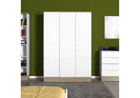 Armoire ALPHA 3 portes décor chêne et blanc brillant
