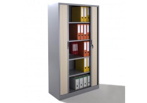 Armoire métal à rideaux L120 H198 cm  coloris gris/portes chêne