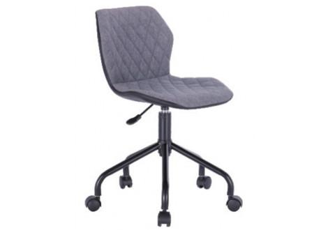 chaise dactylo JEFF tissu gris/piètement noir