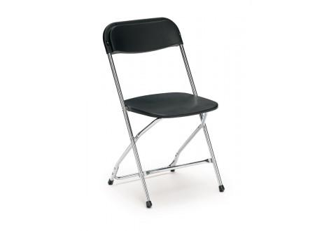 Chaise visiteur pliante LARA noir/piétement chromé