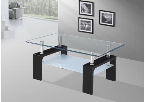 Table basse NOE Pieds noir Plateaux verre clair
