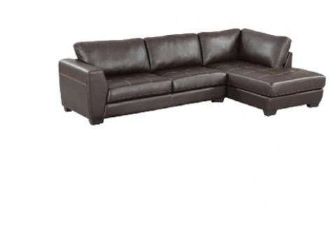 Canapé d'angle droit LISON cuir pellissima noir
