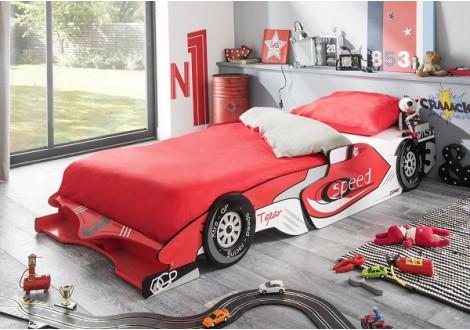 Lit voiture extensible 90x190/200cm MONACO blanc/rouge