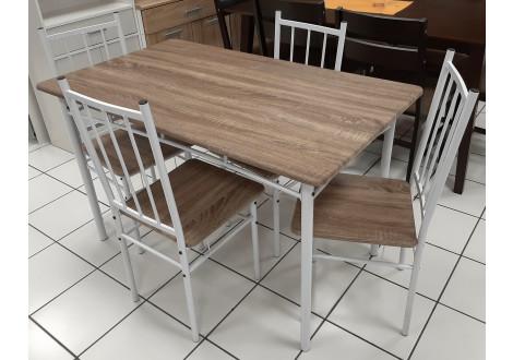 Ensemble Table et 4 chaises LIVOURNE plateaux chêne grisé / pieds blanc