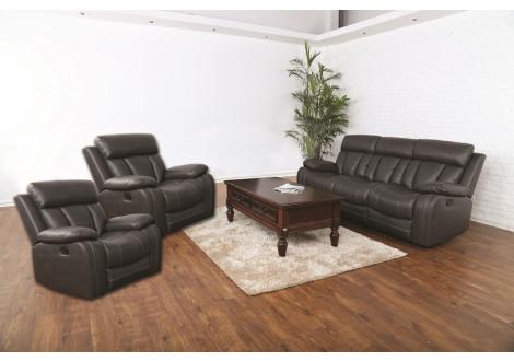 Salon 3 pièces LONG BEACH relax Chocolat : 1 canapé 3 places + 2 fauteuils 1 place en simili cuir