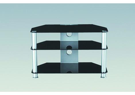 Meuble TV OPEN chrome/verre noir