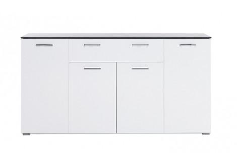 Buffet bas 4 portes 1 tiroir MAGIC béton foncé/blanc