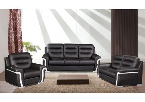 Salon 3 pièces TEMPO bicolore noir et blanc : 1 canapé 3 places + 2 fauteuils 1 place