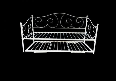 Banquette-lit 90x190 MELUSINE métal blanc