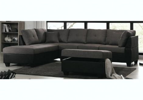 Canapé d'angle + pouf MEMPHIS lin anthracite/pvc noir