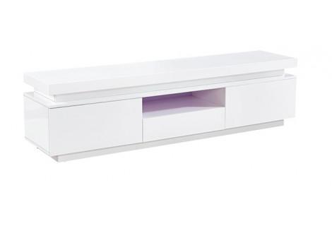 Meuble TV CHAUMONT 2 portes 1 tiroir laqué + éclairage led