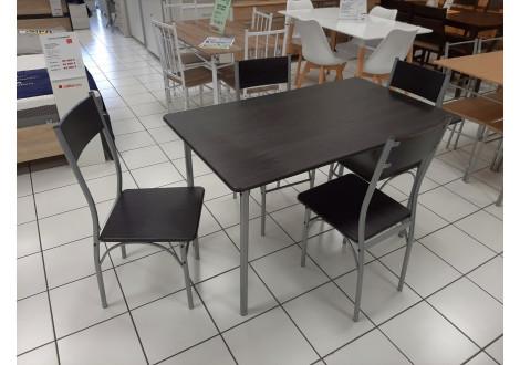 Ensemble Table et 4 chaises MILAN plateaux décor noyer / pieds alu