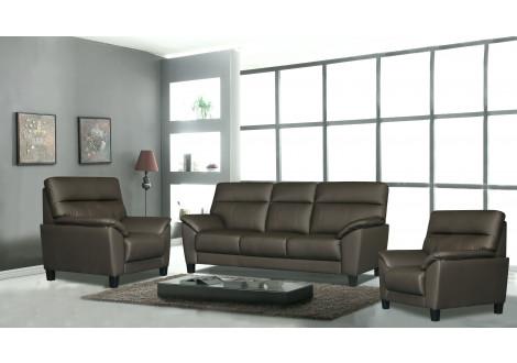 Salon 3 pièces NAGOYA gris 1 canapé 3 places + 2 fauteuils 1 place