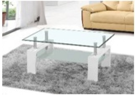 Table basse NOE 2 verre clair pieds laqués blancs