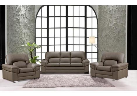 Salon 3 pièces NAIA pierre : 1 canapé 3 places + 2 fauteuils 1 place