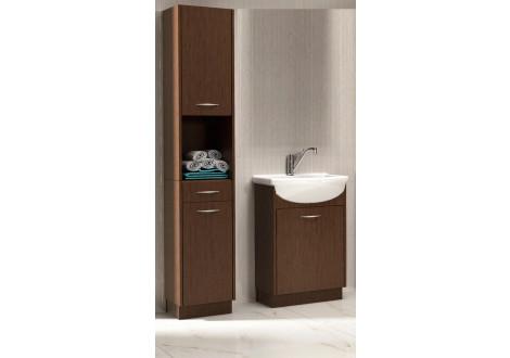 Salle de bains NANCY wenge: 1 colonne + 1 meuble lavabo + 1 vasque