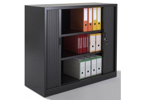 Armoire métal basse à rideaux L120 H100 cm coloris noir
