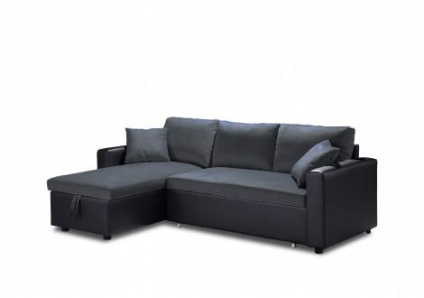 Canapé d'angle convertible ORIGAMI pu noir et tissu gris foncé