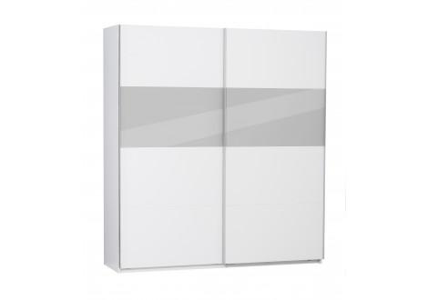 Armoire 2 portes coulissantes PALERMO blanc/gris verre - Largeur 200cm