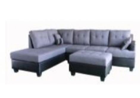 Canapé d'angle + pouf PANAMERA/MEMPHIS PU noir et tissu gris