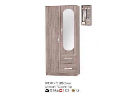 Armoire ANNA 2 portes miroir décor chêne sonoma