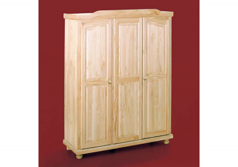 Armoire PARIS pin massif 3 portes vernis naturel