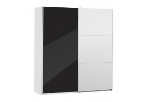 Armoire GALA 180 2 portes coulissantes laqué noir et miroir