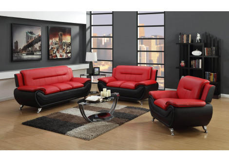Salon POLARIS 3+2+1 rouge et noir