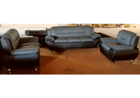 Salon POLARIS 3+2+1 gris et noir