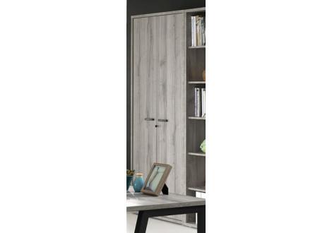 Armoire haute PRONTO 2 portes chêne gris