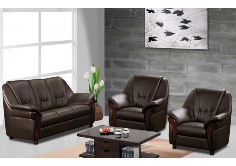 Salon 3 pièces CLAUDIO pvc coco : 1 canapé 3 places + 2 fauteuils 1 place