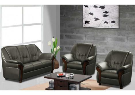 Salon 3 pièces CLAUDIO gris : 1 canapé 3 places + 2 fauteuils 1 place