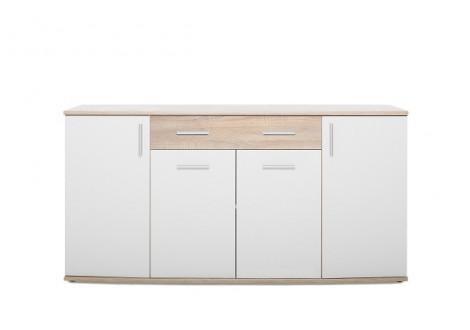 Buffet bas 4 portes 2 tiroirs RONDO 2 chêne/blanc