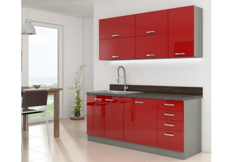 Mur complet cuisine ROSA 180 rouge brillant