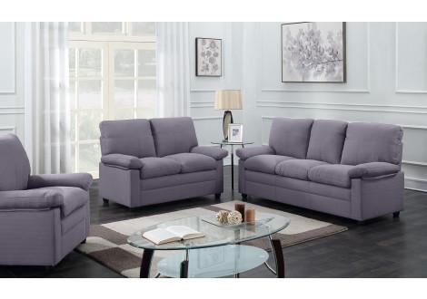 Salon 3 pièces CHICAGO tissu gris foncé: 1 canapé 3 places + 1 canapé 2 places + 1 fauteuil 1 place