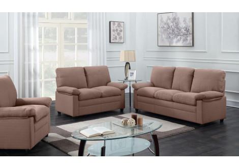 Salon 3 pièces CHICAGO tissu marron foncé: 1 canapé 3 places + 1 canapé 2 places + 1 fauteuil 1 place