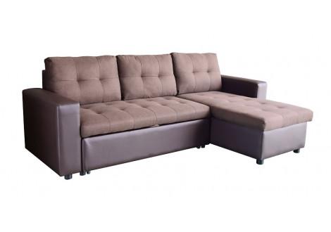 Canapé d'angle convertible FLEXY PU/tissu marron